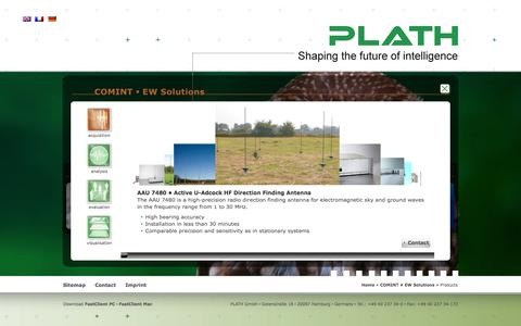 Screenshot of Products Page plath.de - PLATH GmbH - captured Oct. 1, 2014