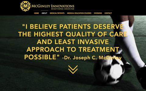 Screenshot of About Page mcginleyinnovations.com - McGinley Innovations | Redefining Medicine | Casper, Wyoming | ABOUT - captured Nov. 1, 2017