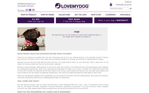 Screenshot of FAQ Page lovemydog.co.uk - FAQ - captured Sept. 30, 2014