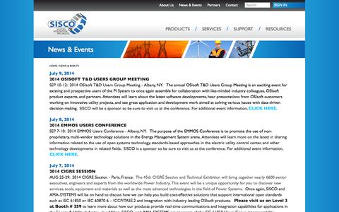 Screenshot of Press Page sisconet.com - News & Events - Systems Integration Specialists Company Systems Integration Specialists Company - captured Oct. 3, 2014