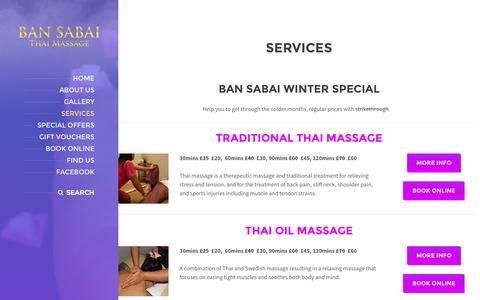 Screenshot of Services Page bansabai.co.uk - Services | Ban Sabai - captured Oct. 5, 2014