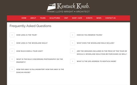 Screenshot of FAQ Page kentuckknob.com - FAQ - Kentuck Knob - captured Oct. 11, 2018