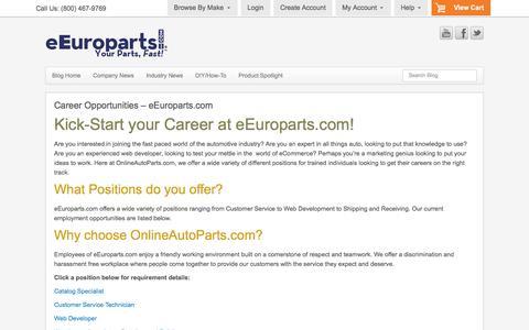 Screenshot of Jobs Page eeuroparts.com - eEuroparts.com Career Opportunities - European Auto - captured Jan. 17, 2016