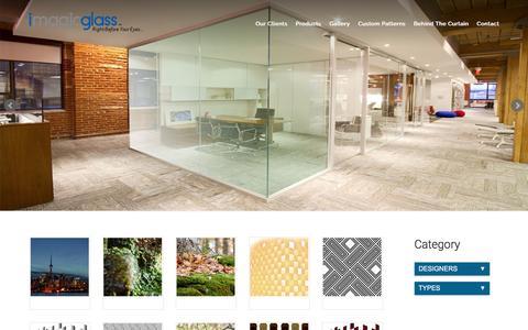 Screenshot of Products Page imagicglass.ca - Custom Patterns | Imagic - captured Jan. 9, 2016
