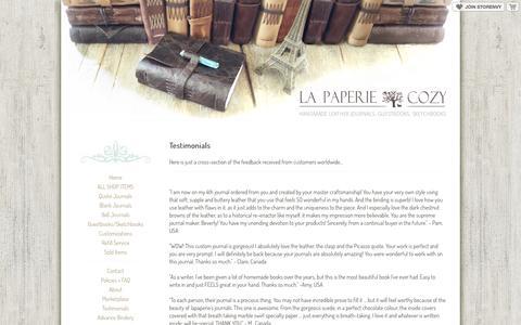Screenshot of Testimonials Page storenvy.com - Testimonials · La Paperie & Cozy Journals · Online Store Powered by Storenvy - captured Sept. 17, 2014