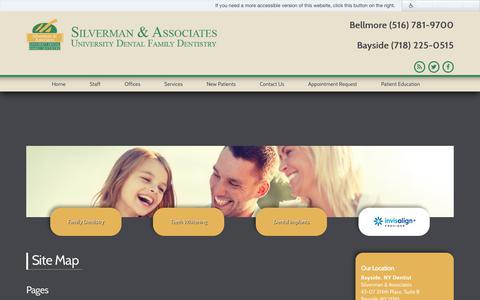 Screenshot of Site Map Page drsilvermanassociates.com - Site Map - Dentist in Bayside & Bellmore, NY - captured Nov. 22, 2017