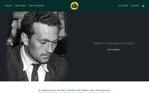 Screenshot of About Page lotuscars.com - About Lotus - Lotus Cars - Lotus - For the Drivers - captured May 5, 2019