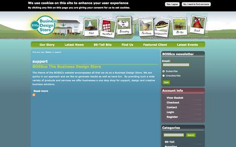 Screenshot of Support Page businessdesignstore.co.uk - support | BOSSco - captured Oct. 4, 2014