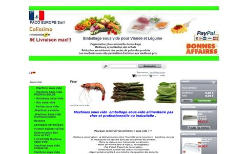 Screenshot of Home Page emballage-systeme-sous-vide.fr - Machines sous vide  - Machine sous vide emballage FACO  Sarl - captured Sept. 11, 2015