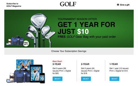Screenshot of Landing Page golf.com - Golf - captured May 11, 2018