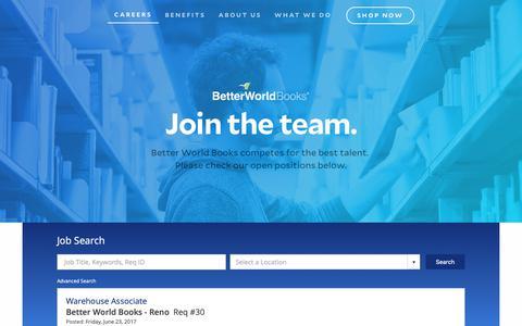 Screenshot of Jobs Page betterworldbooks.com - Better World Books Careers - Careers - captured Oct. 22, 2018