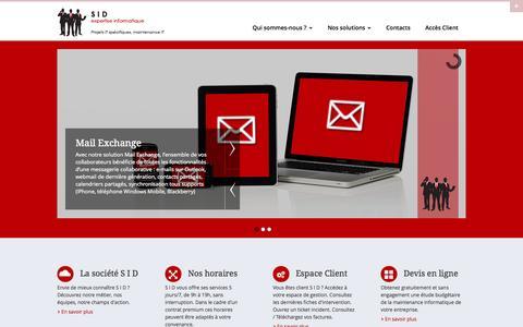 Screenshot of Home Page sidexpert.com - S I D | Service informatique pour les entreprises - captured Oct. 3, 2014