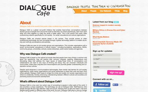 Screenshot of About Page dialoguecafe.org - Dialogue Café | About - captured Sept. 30, 2014
