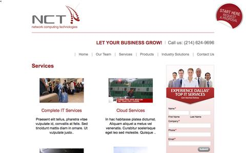 Screenshot of Services Page nctnet.net - Services Archives - NCT The Experts In IT - captured Nov. 3, 2014