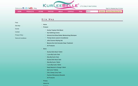 Screenshot of Site Map Page kurleebelle.com - Natural Hair Care Products | Natural Ingredients | Kurlee Belle offers eco-friendly high performance hair care products for curly hair, natural hair and relaxed hair with a Tropical-Caribbean theme inspired specifically by hair recipes from the Islan - captured Jan. 9, 2016