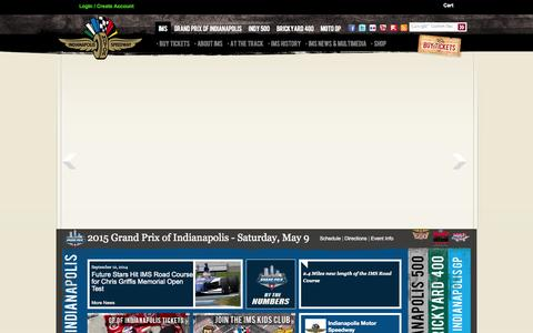 Screenshot of Home Page Site Map Page indianapolismotorspeedway.com - Indianapolis Motor Speedway - captured Sept. 22, 2014