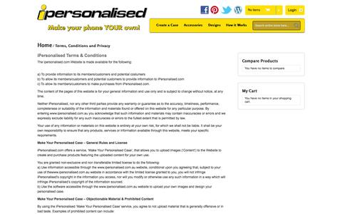 Screenshot of Terms Page ipersonalised.com.au - Terms, Conditions and Privacy - captured Sept. 30, 2014