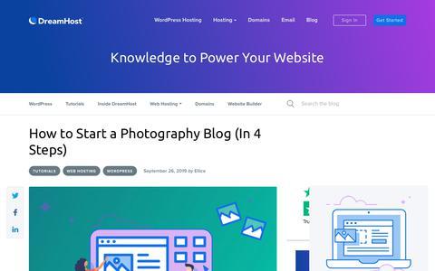 Screenshot of Blog dreamhost.com - How to Start a Photography Blog (4 Steps) - DreamHost - captured Feb. 21, 2020