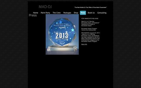 """Screenshot of Press Page mad-dj.com - Press - """"Your Best Mobile Entertainment In NE Ohio!"""" - captured Oct. 3, 2014"""