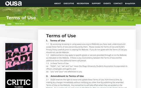 Screenshot of Terms Page ousa.org.nz - Terms of Use | OUSA - Otago University Students' Association - captured Oct. 19, 2018