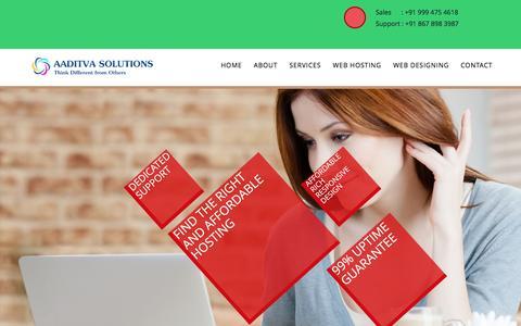 Screenshot of Home Page aaditva.com - Aaditva Solutions - captured Feb. 5, 2016