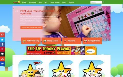 Screenshot of Home Page kiddycharts.com - Reward Charts, Behaviour Charts, Sticker Charts | Personalised | Kids - captured Oct. 2, 2015