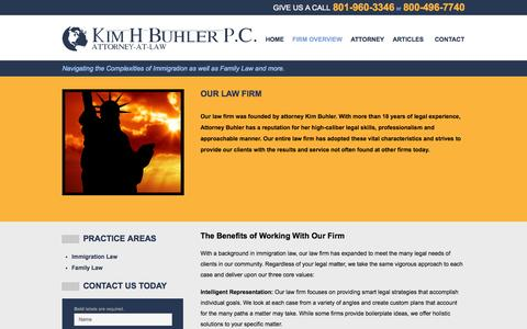 Screenshot of Services Page buhlerlawoffice.com - Provo Utah Law Firm | Kim H. Buhler, Attorney at Law, P.C. | Immigration, Family Law, Employment - captured Oct. 6, 2014