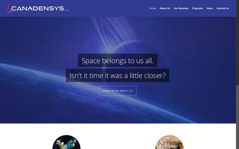 Screenshot of Home Page canadensys.com - Canadensys Aerospace Corp. - captured July 12, 2017