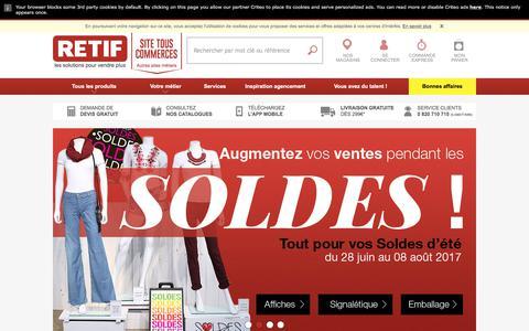 Screenshot of Home Page retif.eu - RETIF - Agencement Magasin & Equipement Commerce - captured July 25, 2017