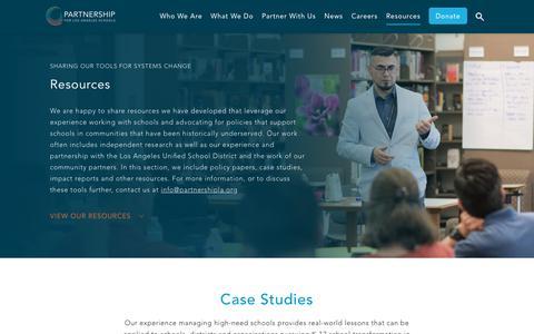 Screenshot of Case Studies Page partnershipla.org - Case Studies Archives | The Partnership for Los Angeles Schools - captured Sept. 27, 2018