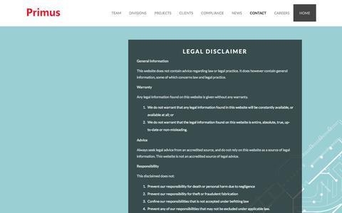 Screenshot of Terms Page primus.london - Legal | Primus - captured Aug. 31, 2017