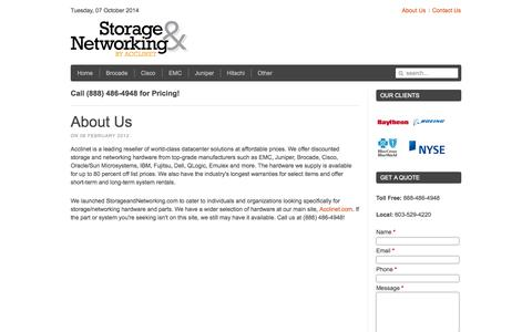 Screenshot of About Page storageandnetworking.com - About Us - Uncategorised - Storage and Network - captured Oct. 7, 2014