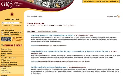 Screenshot of Press Page grstools.com - News & Events :: GRS Hand Engraving Tools & Training - captured Oct. 1, 2014