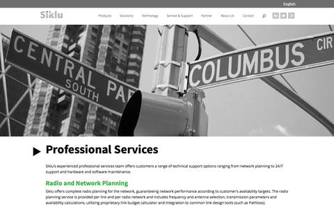 Screenshot of Services Page siklu.com - Professional Services » Siklu - captured Sept. 17, 2014