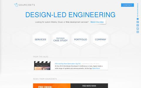 Screenshot of Home Page sourcebits.com - App Development & Design Company — Mobile, Web & Cloud Development - captured July 11, 2014