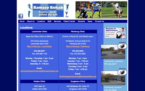 Screenshot of Locations Page ramseyrehab.com - Ramsey Rehabilitation Inc. Ramsey Rehabilitation Locations | Ramsey Rehabilitation Inc. - captured Oct. 26, 2014