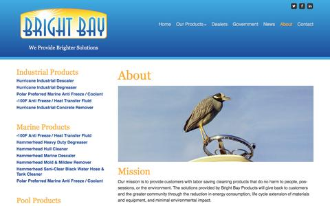 Screenshot of About Page brightbayproducts.com - About – Bright Bay Products - captured Feb. 8, 2016