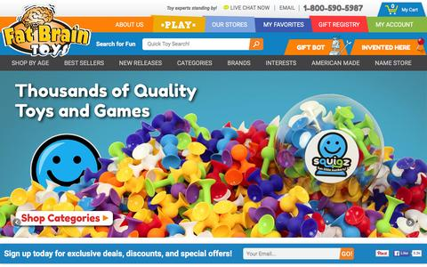 Screenshot of Landing Page fatbraintoys.com - Educational Kids Toys & Gifts from Fat Brain Toys - captured Jan. 8, 2016
