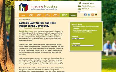 Screenshot of Blog imaginehousing.org - News & Media - Imagine Housing - captured Sept. 30, 2014