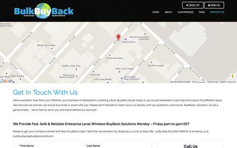 Screenshot of Contact Page bulkbuyback.com - Bulk BuyBack - captured July 2, 2016