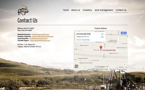 Screenshot of Contact Page rangeroyalty.com - Contact Us | Range Royalty Limited Partnership - captured Oct. 7, 2014