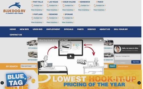 Screenshot of Home Page bluedogrv.com - ID RV Dealer | WA RV Dealer | New and Used RVs ID, WA, OR - captured July 29, 2016