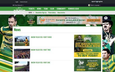 Screenshot of Press Page rowdiessoccer.com - News - captured Nov. 22, 2016