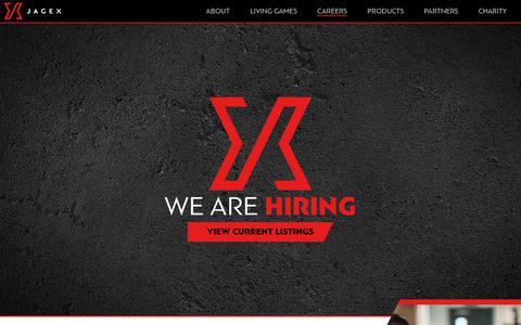 Screenshot of Jobs Page jagex.com - Careers - Jagex - captured Sept. 26, 2018