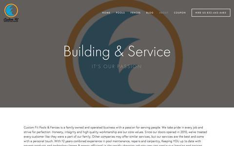 Screenshot of About Page customfitpools.com - About — Building & Servicing - captured Feb. 2, 2016