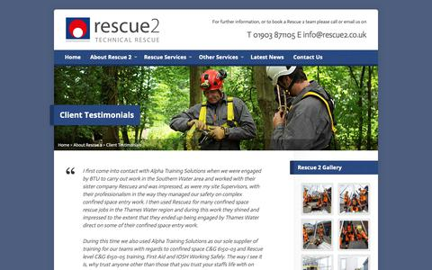 Screenshot of Testimonials Page rescue2.co.uk - Rescue 2 - Confined Space Rescue Support | Testimonials - captured Oct. 18, 2018