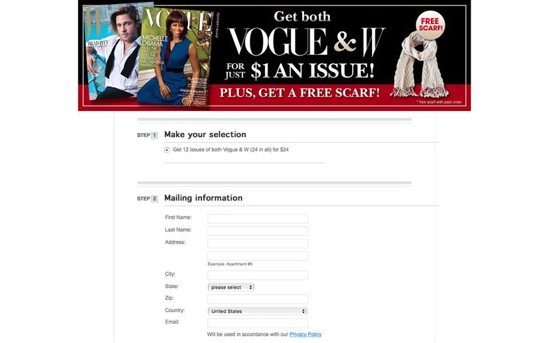 Vogue and W Magazine Subscriptions