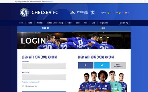 Screenshot of Login Page chelseafc.com - Login | Security | Official Site | Chelsea Football Club - captured Aug. 19, 2016