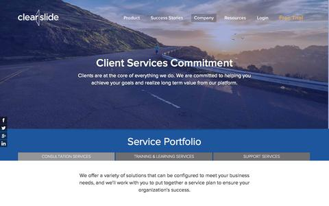 Screenshot of Support Page clearslide.com - ClearSlide Client Services - captured Nov. 14, 2015