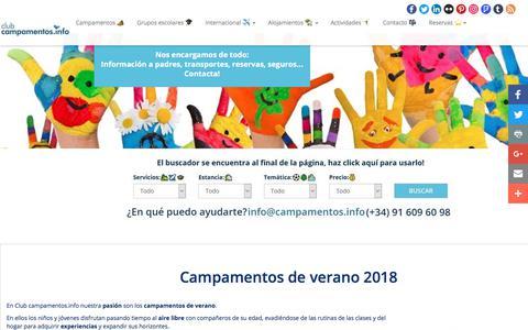 Screenshot of Home Page campamentos.info - Campamentos de verano ⛺️☀️ y viajes fin de curso 2018! - captured Jan. 27, 2018